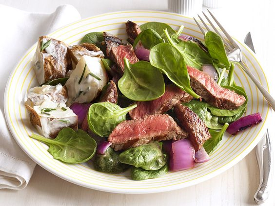 Steak-Spinach Salad With Sour-Cream Potatoes #FNMag #myplate #protein #veggies