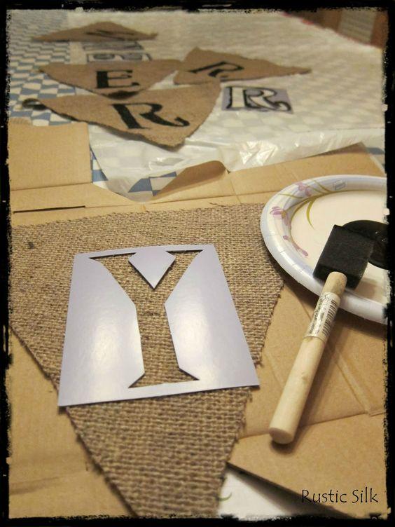 DIY bunting (stencils from walmart) Hen party ideas Pinterest