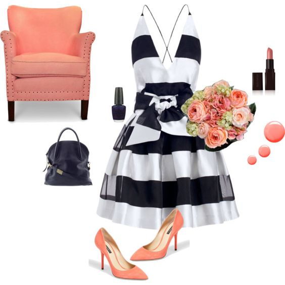 """Nautical Stripe Bridesmaid Dress - Navy, White, Coral"" by style-inspiration-and-design on Polyvore www.StyleInspirationAndDesign.com  by Lisa Sammons Events"
