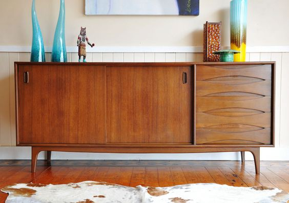 Retro Danish Parker Era TEAK SIDEBOARD Buffet Chest TV Cabinet Mid Century