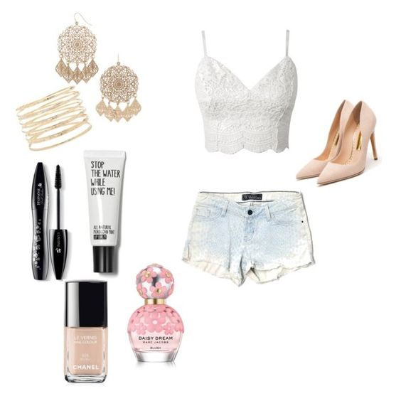 """""""Summer out"""" by aliciahot ❤ liked on Polyvore featuring GUESS, Rupert Sanderson, Forever 21, Lancôme, Marc Jacobs and Chanel"""