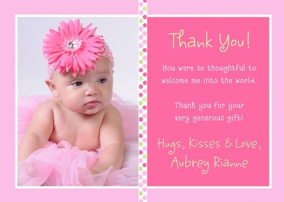Baby Gift Thank You Card Examples : Baby thank you card wording cards for