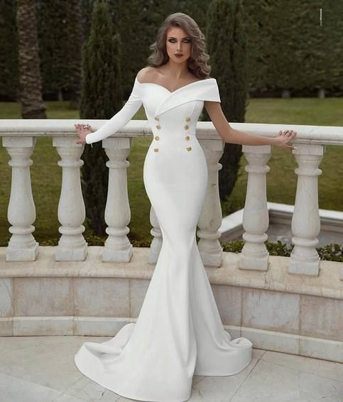 Long Sleeves Mermaid White Wedding Dress Off Shoulder Plus Size Women Bridal Gowns In 2020 Wedding Dress Guide Mermaid Wedding Dress Gown Party Wear