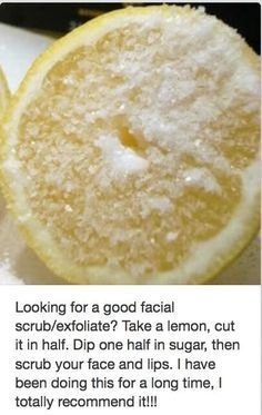 DIY facial scrub--can also be used for legs, elbows and armpits.
