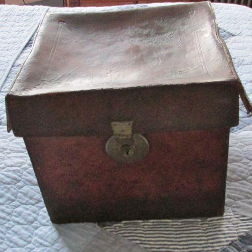 Antique Leather Rectangular Hat Box Green Felt Interior Brass Lock | eBay
