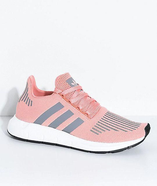 adidas Swift Run Trace Pink & Grey Shoes #RunningShoes   if