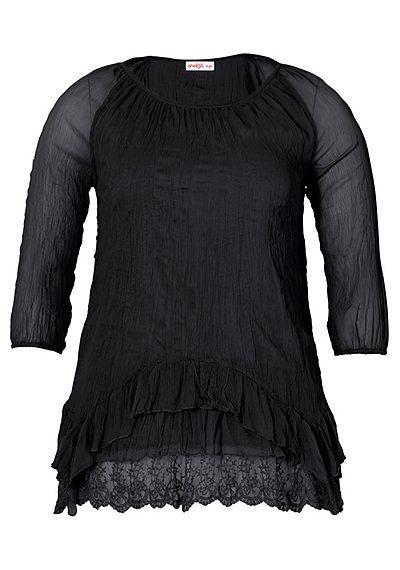 sheego Style Tunika mit Rundhalsausschnitt - schwarz | sheego XXL-Mode