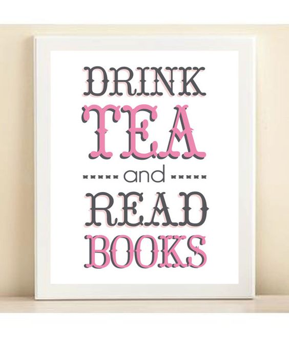 Pink and Grey 'Drink Tea and Read Books' by AmandaCatherineDes, $15.00