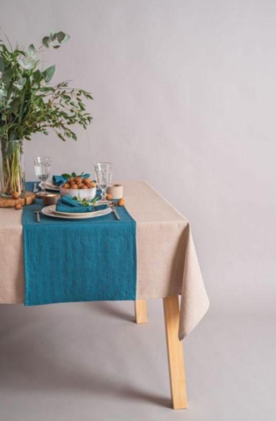 11 Christmas Decorations Kitchen Blue Blue Table Runner Blue Linen Napkins Linen Table Runner