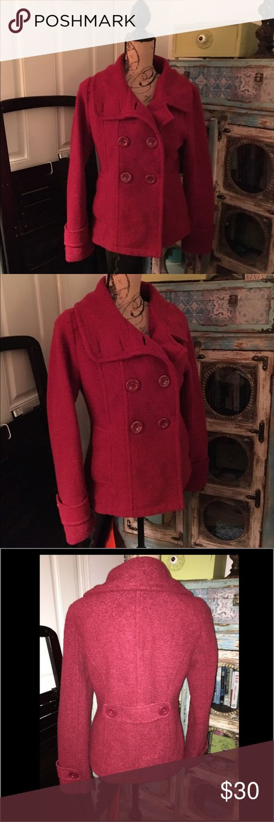 Sashimi from Nordstrom Red Pea Coat M Excellent pre-loved condition! A Pea coat in the perfect Fall color-a dark red-beautiful! No significant flaws to note. Unlined. Sashimi from Nordstrom Jackets & Coats Pea Coats