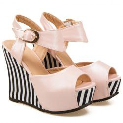 Stylish Striped and Peep Toe Design Women's Wedge Sandals