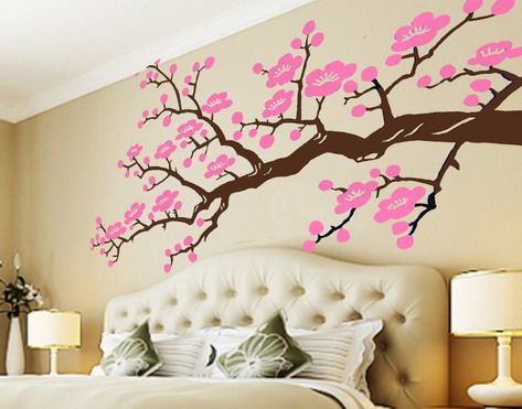 Cherry blossom tree room wall dream home pinterest for Cherry blossom bedroom ideas