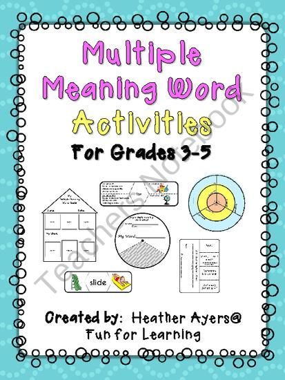 Multiple Meaning Words Fun Activities And Texts On Pinterest