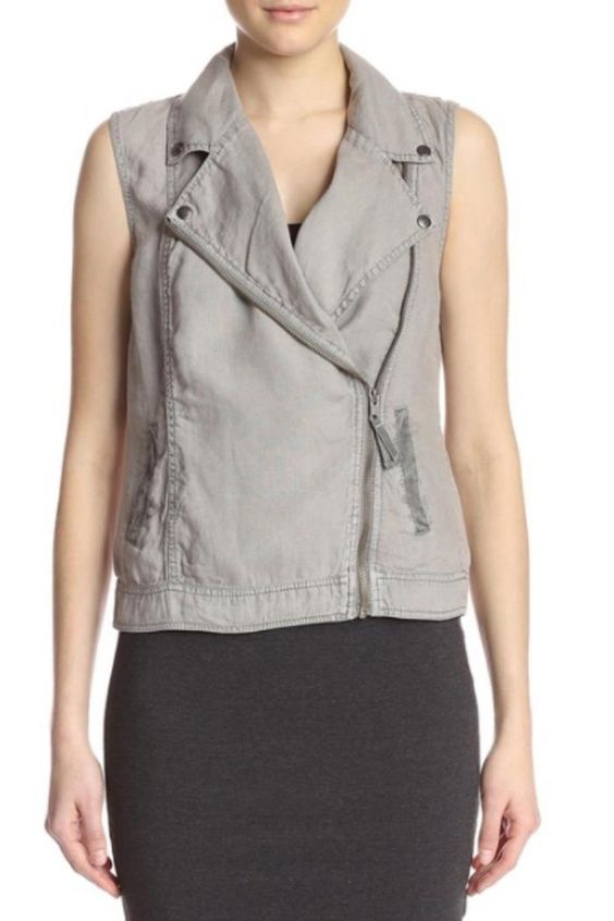Moto style vest with no sleeves, a zipper front, and double button closure at the neckline.   Galvonized Linen Vest by Michael Stars. Clothing - Jackets, Coats & Blazers - Vests Florida