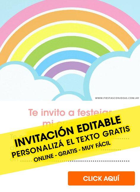 12 Invitaciones Arcoíris Lluvia De Amor Nubes Con Arcoíris Editable Gratis Par Tarjeta De Cumpleaños Gratis Tarjetas De Cumpleaños Para Niños Invitaciones