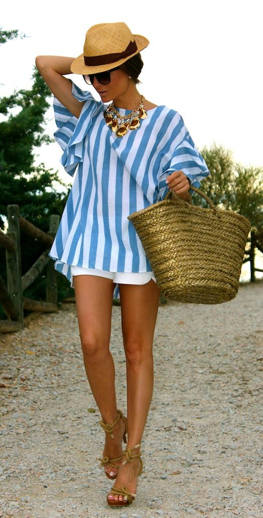 Blue stripes, shorts and hat - perfect summer look