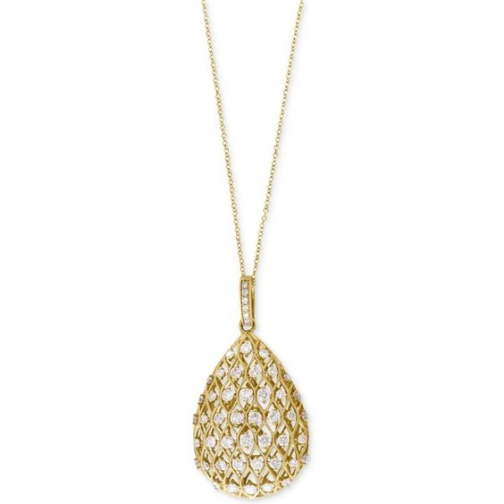 D'Oro By Effy Diamond Teardrop Pendant Necklace (9/10 ct. t.w.) in 14k... ($3,600) ❤ liked on Polyvore featuring jewelry, necklaces, yellow gold, gold jewelry, teardrop pendant necklace, gold diamond jewelry, pendant necklace and 14k necklace