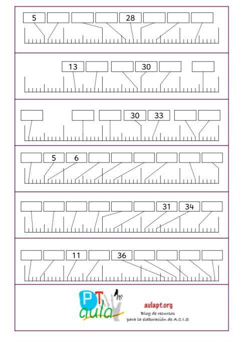Nueva colección de tiras para trabajar a modo de refuerzo o ampliación los números hasta el 500 La recta numérica es el soporte fundamental para que el alumno se afiance y progrese en cada uno de los niveles de dominio de la secuencia numérica por eso es importante trabajarla de
