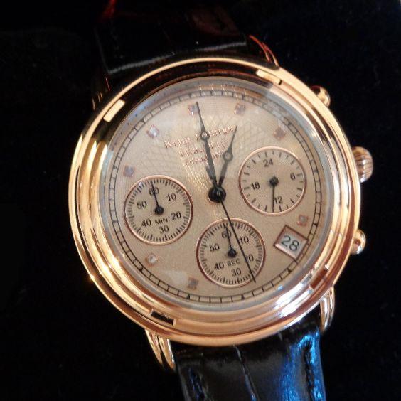 Krug Baumen - Principle Diamond Rose Gold Mens Chronograph Dress Watch. NEW