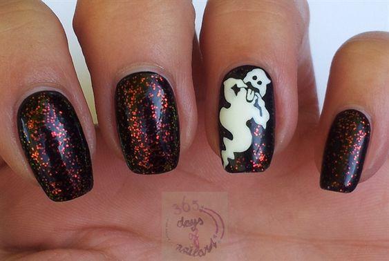Nail art design 2 video   Tutorial nail art design   Aquarium nail art video   Nail art design 3   Nail art designs for beginners   Halloween nails (ghost) by daysofnailartnl - Nail Art Gallery
