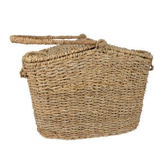 Tote your picnic lunch to the park in this basket hand-woven from durable hogla fibre. The double lid makes it easy to retrieve food, while the sturdy handle helps you heft your sandwiches and salads with ease. From Heed Handicrafts, a fair trade organization  in Bangladesh.