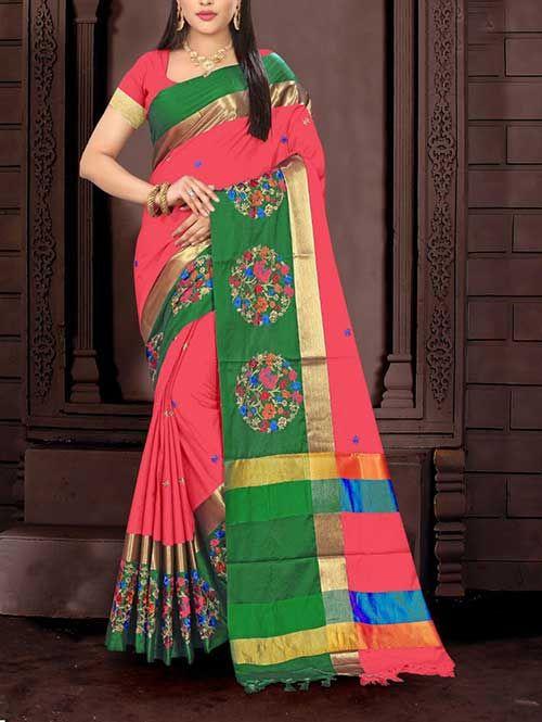 Indian Women/'s Saree With Unstitched Blouse Mehandi Aura Type Cotton Silk Sari