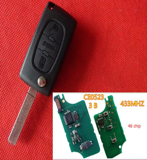 Find More Alarm Systems & Security Information about Free shiping cost for  PEUGEOT 207 307 307S 308 407 607 remote flip key with 433mhz 46chip CE0523 car,High Quality key card access systems,China key international Suppliers, Cheap key fiat from Taizhou Luqiao Tongda Lock Service Shop on Aliexpress.com