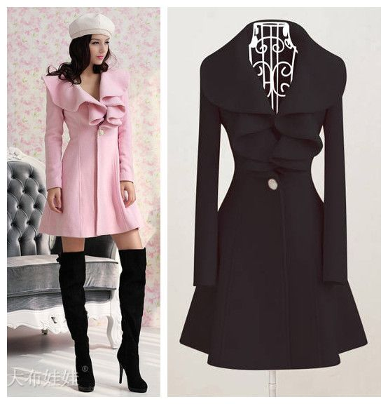 2013 Long Ruffle Sleeve Women's Winter Woolen Outerwear Overcoat Plus Size Winter Coat M-XXL Size