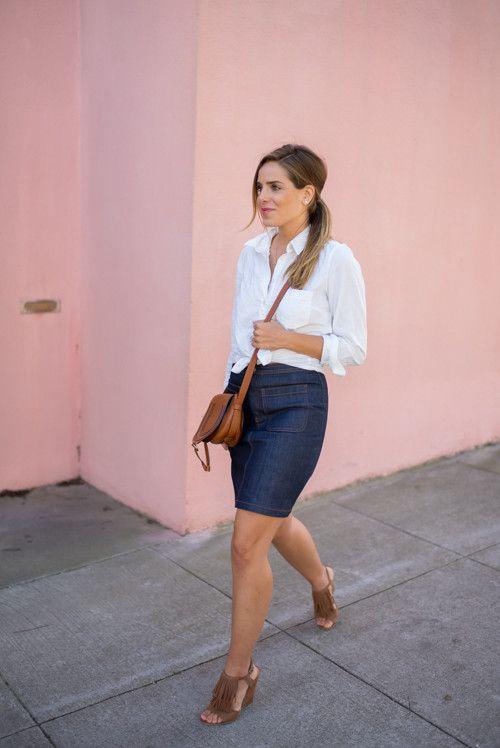 Denim pencil skirt, white shirt, chloe bag, suede fringe wedge.