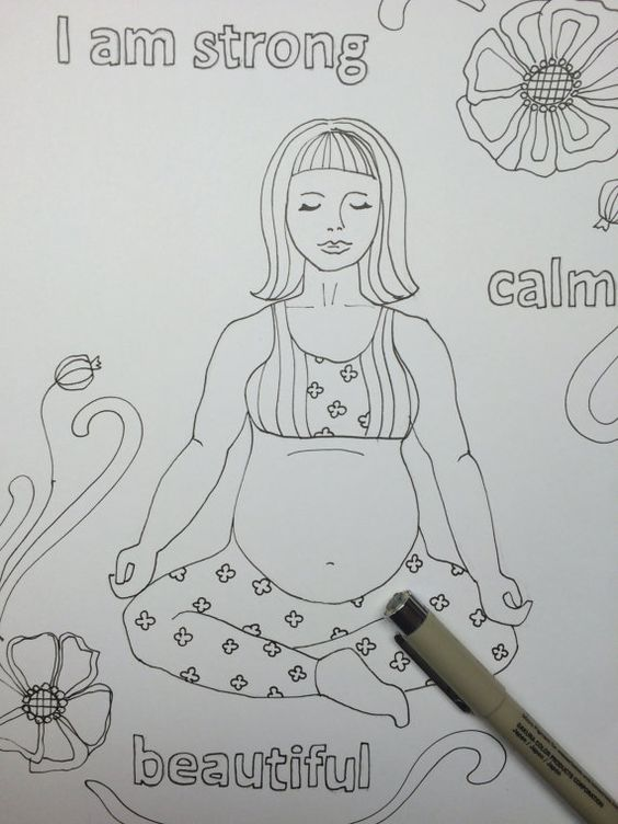 Birth Affirmations Coloring Page Instant Download PDF File