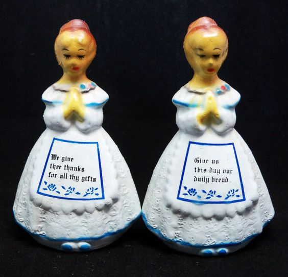 SALE Set of Praying Girls Salt and Pepper Shakers by retroheart