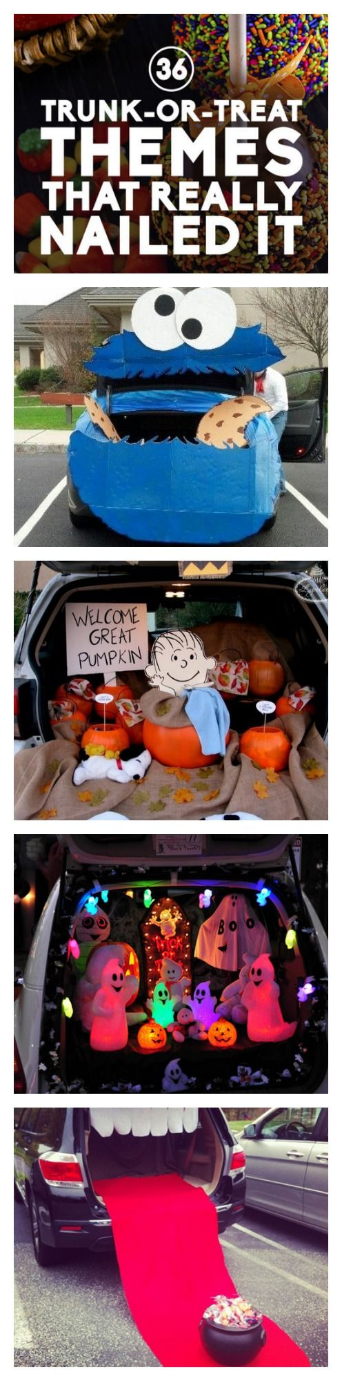Trunk or treat trunks and treats on pinterest for Creative ideas for halloween treats