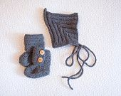 Baby Ribbed Pixie Hat and Baby Ankle Booties Set in Grey.  Hat and booties are hand made at time of order. Wide range of colours to choose from. USD $40