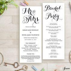 Printable Wedding Program Order of Service Template