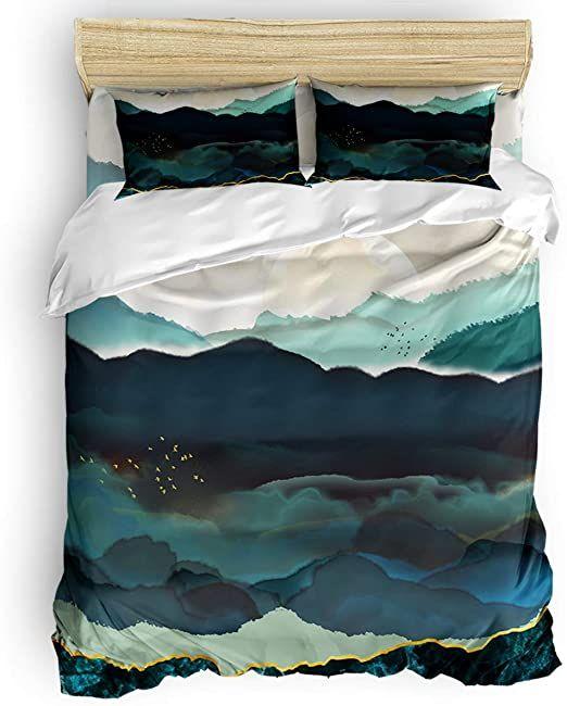 Vandarllin California King Size Duvet Cover Set Moon Mountain Landscape Watercolor Painting Bedding Sets D Bed Duvet Covers King Size Duvet Covers Duvet Covers