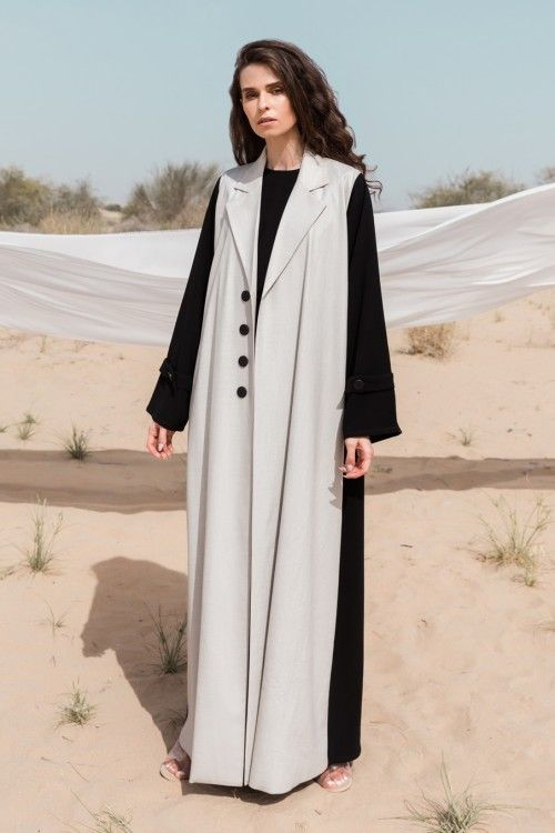 Two Toned Linen Coat Abaya With Button Detail Abayas Fashion Fashion Fashion Outfits