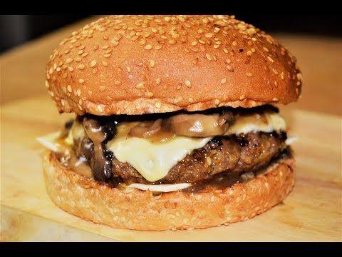13 سويس برجر بصلصة الفطر شيف احمد Swiss And Mushroom Burger Youtube Food Caramelized Onions Blue Cheese
