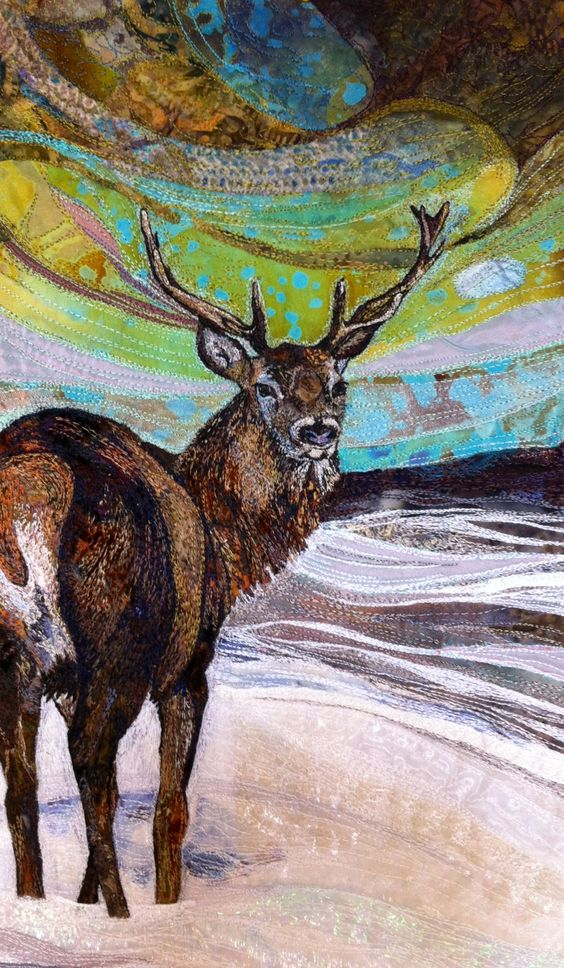 Stag embroidered textile by Rachel Wright.  #stag #embroidery #textileart…: