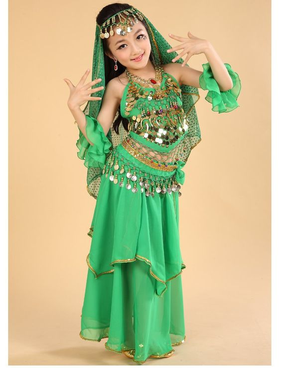 US $23.50 / piece Girls Belly Dance Costume 5 Pcs Top+Skirt+Waist Chain+Arm Sleeve+Veil Child Belly Dancing Clothes Kids Ropa De Danza Del Vientre