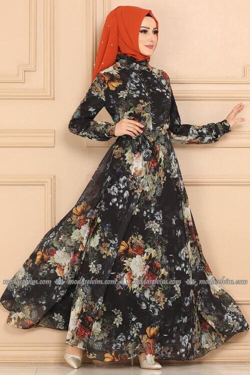 Modaselvim Elbise Desenli Sifon Elbise Ygs6211 Siyah Sifon Elbise Elbise Moda Stilleri