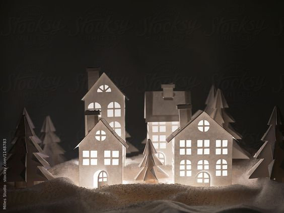 Winter Still Life with nocturne house in forest