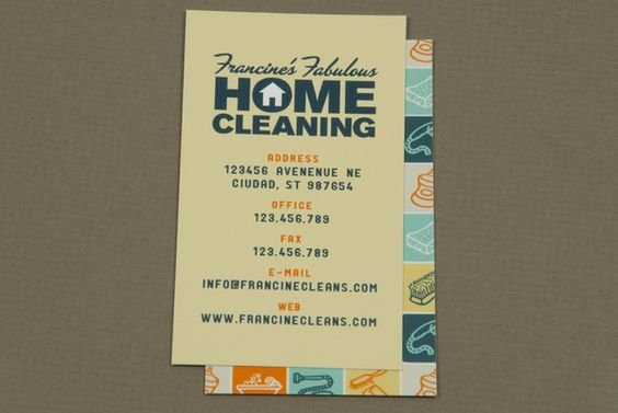 Fun And #retro House Cleaning Business Card Design #inkd #illustrated #letterpress #print