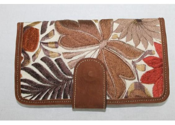 Genuine Leather Brown Handmade Embroidered Women Wallet