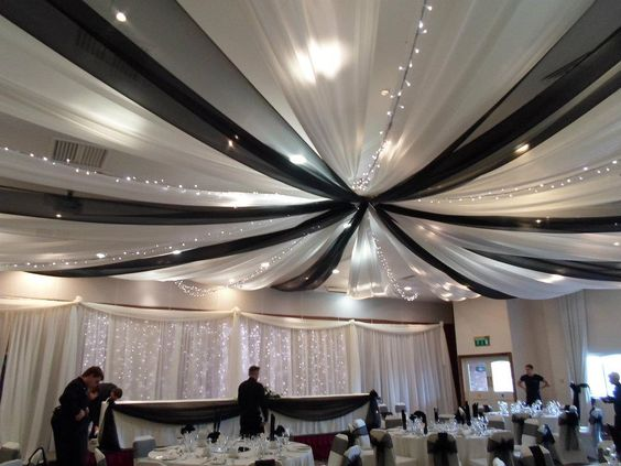 wedding black and white ceiling draping | ceiling drapes black and white fairy lights beautiful