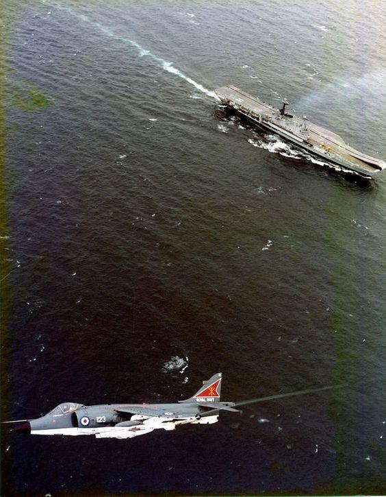 BAe Sea Harrier FRS.1 of 800Sqn over HMS Hermes