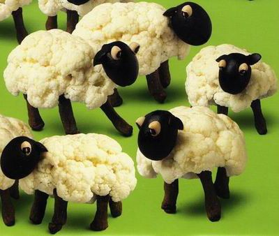 Edible Cauliflower & Olive Sheep-So cute