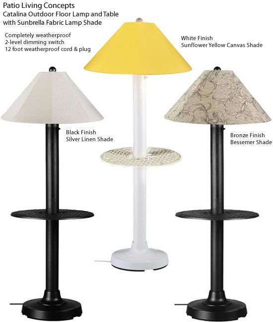 Patio Living Concepts 65697 Catalina Outdoor Floor Lamp And Table With Sunbrella Fabric Lamp Shade Carefree Durability While Addin Indoor Lamp Lamp Floor Lamp