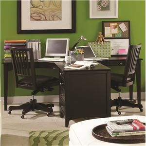 E2 Transitional Ergonomically Curved Two-Person Desk by Aspenhome