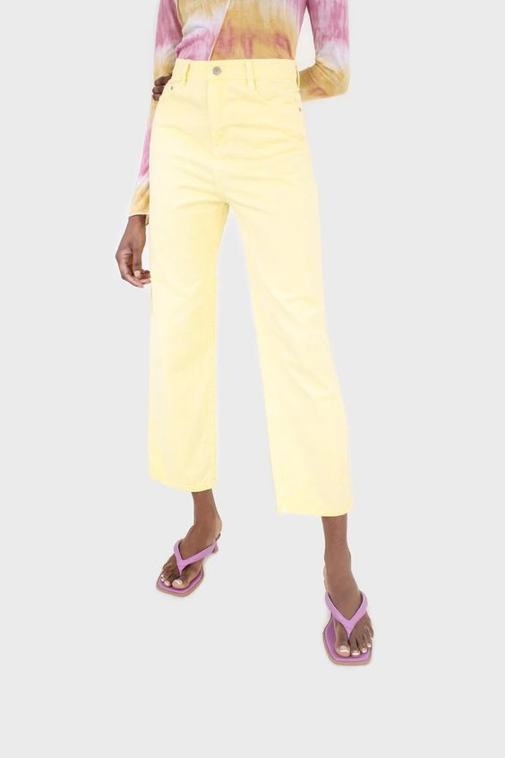 Pale yellow loose fit jeans - 215