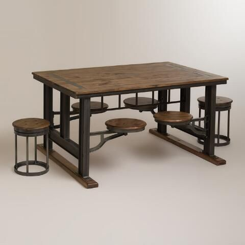 Galvin Cafeteria Table | World Market - really like the seats that swivel in and out to save space, though would need cushions
